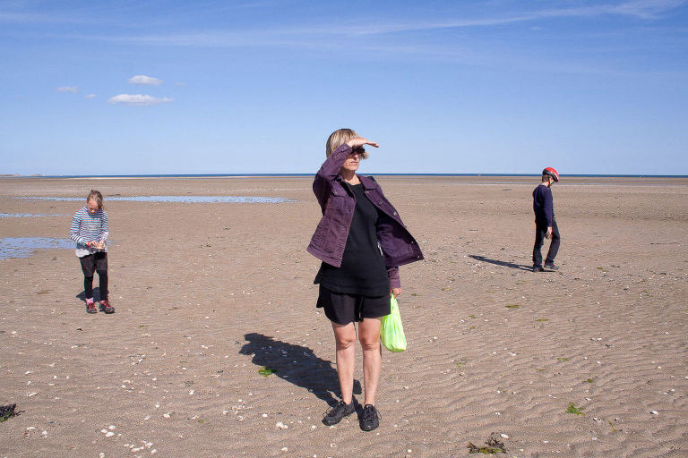 me on large normand beach with kids