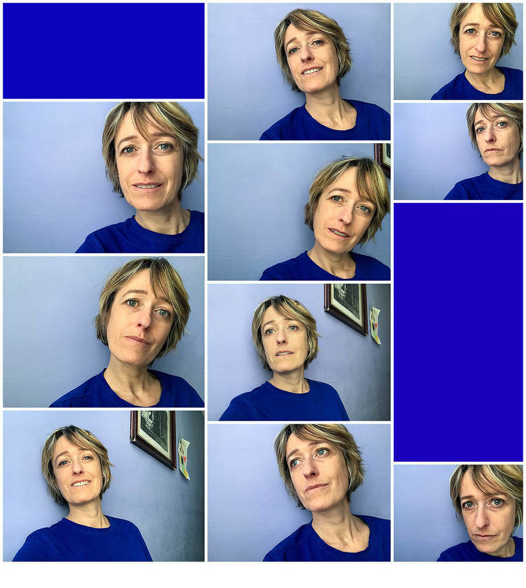 collage of selfies in blue